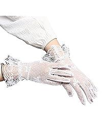 YQWEL Women's Short Lace Floral Bridal Gloves Wrist Length Evening Finger Gloves