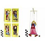 Wooden Marionette Puppets - Soldier, Princess, Clown and King - 1 Supplied