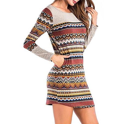 Zantec Sexy Kleid Frauen Farbe Striped Long Sleeve Round Kragen Mischfarbe