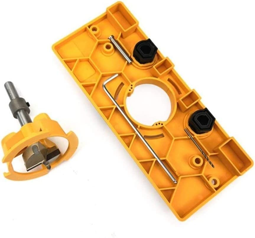 JYSLI Flush 35MM Cup Style Hinge Jig Boring Hole Drill Guide Bit Wood Cutter Carpenter Woodworking DIY Tools allowing (Color : Yellow) Yellow