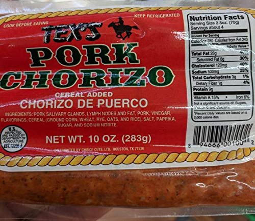 Tex's Pork Chorizo 10 Oz (6 Pack)