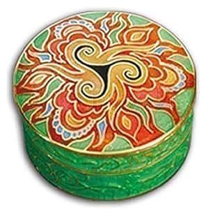 Envase Ornamento Pastillero Esmalte Metal Redondo 40 mm Verde Naranja Flor de Loto