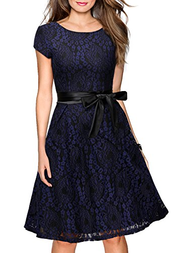 Miusol Women's Vintage Floral Lace Cocktail Evening Party Dress,Large,Navy Blue and Black