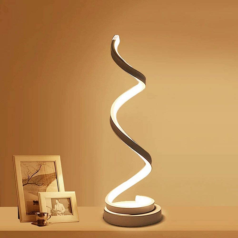 Modern Spiral LED Table Lamp – ELINKUME 12W Smart Dimmable Curved LED Desk Lamp, Contemporary Minimalist Design, Warm White Light, Creative Acrylic LED Modeling Lamp Perfect for Bedroom Living Room