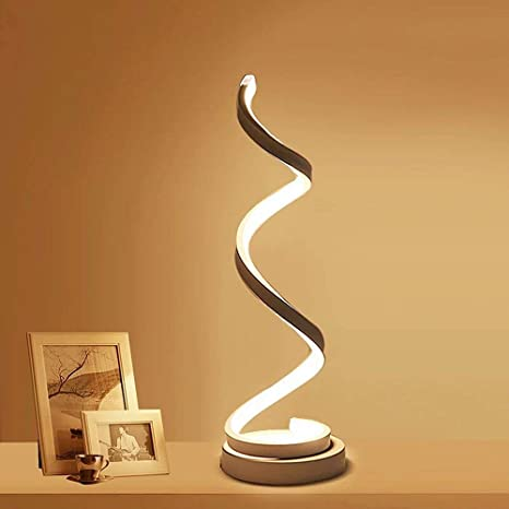 Desk Dimmable Minimalist Acrylic LED DesignWarm Curved LightCreative 12W White ELINKUME Smart Modern Spiral LampContemporary Table LED Lamp vN8m0Onyw