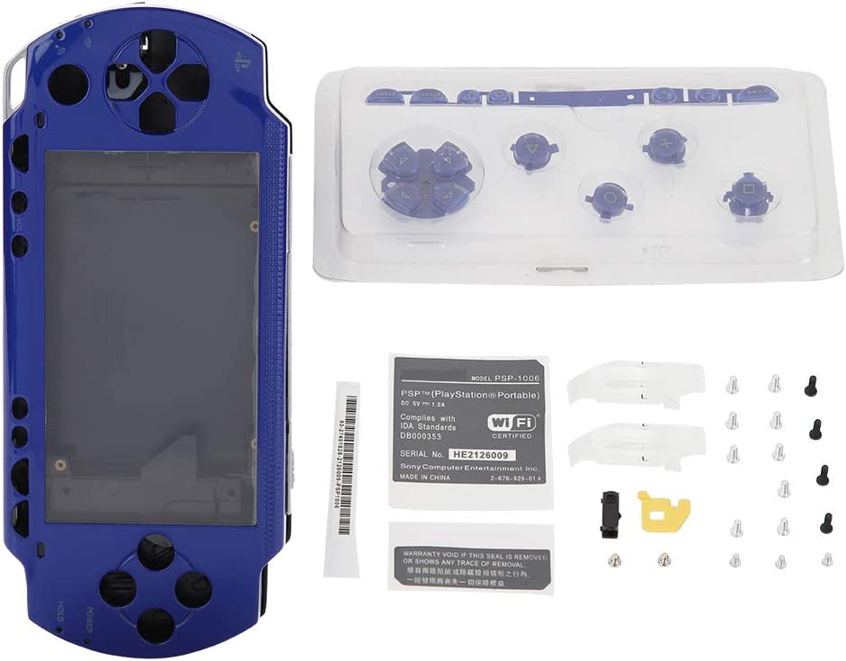 Pomya Full Housing Case Coverfor PSP, Replacement Anti-Drop Shell Set with Buttons Kit for PSP 1000 Replacement Shell(Blue): Electronics