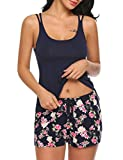 MAXMODA Night Women Shorts Sleep Set Solid Tank Top with Floral Pattern Boxers Set Nightgown Set Navy Blue XXL