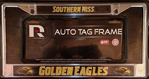 Southern Mississippi Miss Golden Eagles Chrome Metal License Plate Tag Frame Cover University ()
