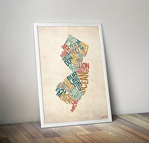 New Jersey by County - Typography Map Print (In May Montclair)