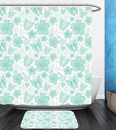 Beshowereb Bath Suit: Showercurtain Bathrug Bathtowel Handtowel Turquoise Decor By Flowers Butterflies Leaves Pattern Springtime Romantic Vintage Design Nature Art Decor