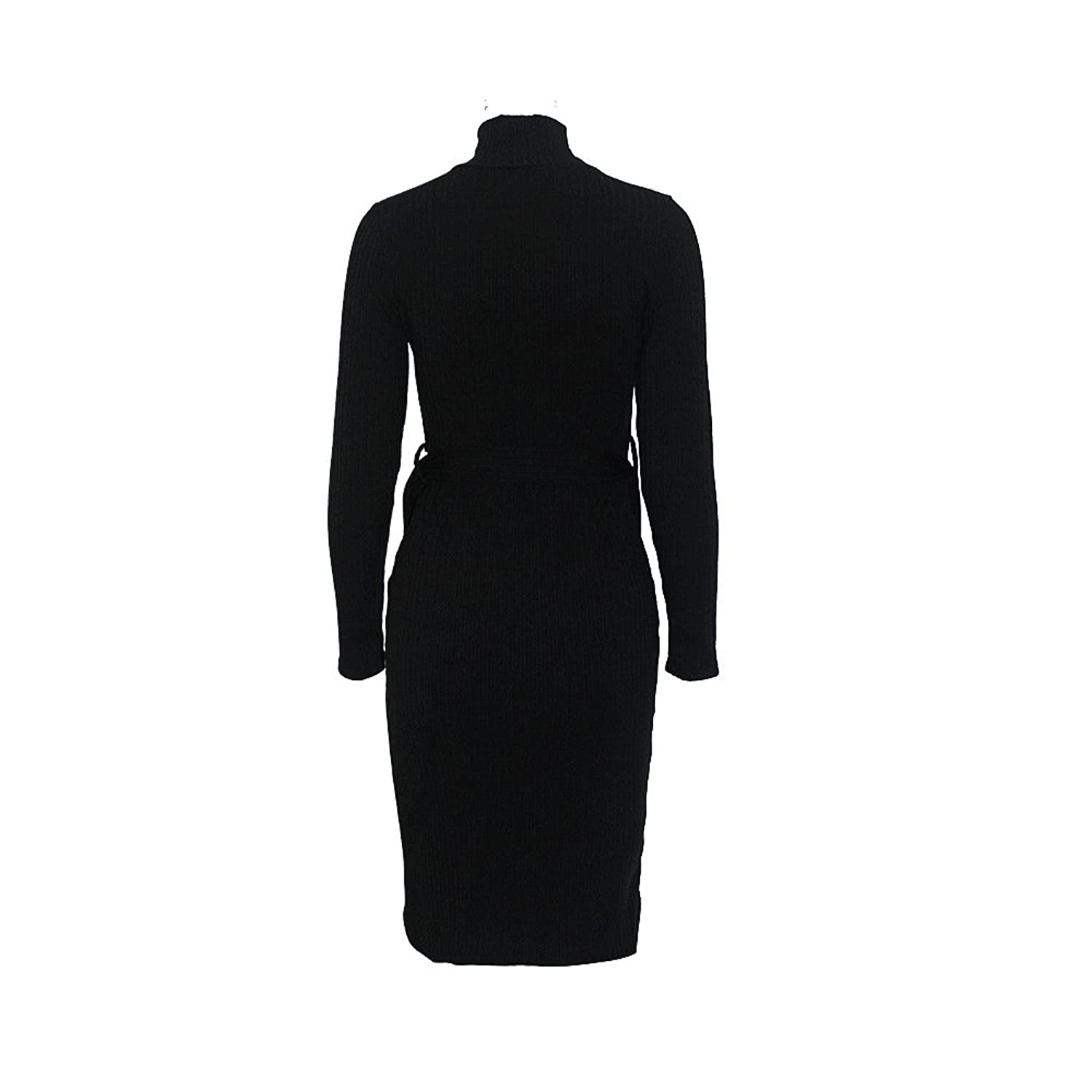 Womens Sexy Turtleneck Long Sleeve Ribbed Slim Fit Clubwear Bodycon Midi Dress