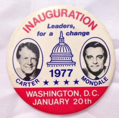 1977 Jimmy Carter & Mondale Original Inauguration Day Political Jugate Pin Back Democrat Presidential Button (3.5 Inches)