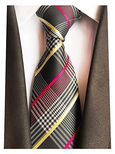 MINDENG Gold Rose Black Striped Silk Woven Check Men's Tie Necktie Suit Ties