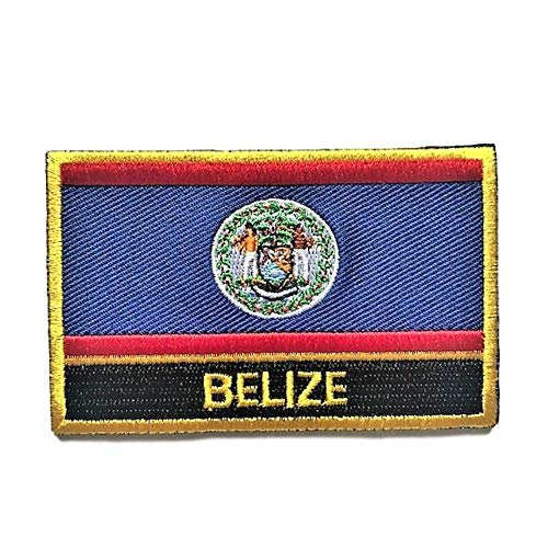 Belize Flag Patch/National Travel Patches Sew-On Iron on Morale Tactical Badge (Belizean w/Words, 2