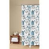 "Inspired Surroundings Paris Print Shower Curtain, 72"" x 72"", Blue"
