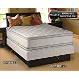 Dream Solutions Pillow Top Mattress and Box Spring Set (Queen) Double-Sided Sleep System with Enhanced Cushion Support- Fully Assembled, Great for your Back, longlasting Comfort