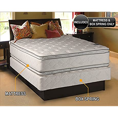 Dream Solutions Double Sided Pillowtop Mattress And Box Spring Set Twin Sleep System With Enhanced Cushion Support Fully Assembled Great For Your Back Longlasting Comfort
