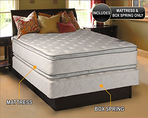 Dream Solutions Pillow Top Mattress and Box Spring Set (Queen) Double-Sided Sleep System with Enhanced Cushion Support- Fully Assembled, Great for your Back, longlasting ()