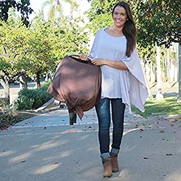 Nursing Covers by Dria 'The All-In-One Fashionable Nursing Cover, Stroller Cover, Car Seat Cover' - Made in USA from Premium Four Way Stretch and Breathable Modal Fabric (Solana Style: Natural Sand) DRIA Cover