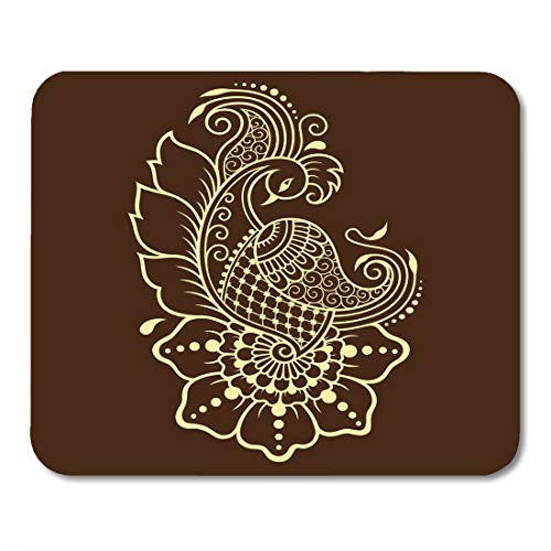 Nakamela Mouse Pads Embroidery Mehndi Flower Pattern for Henna Drawing and Tattoo in Ethnic Oriental Indian Style Peacock Mouse mats 9.5