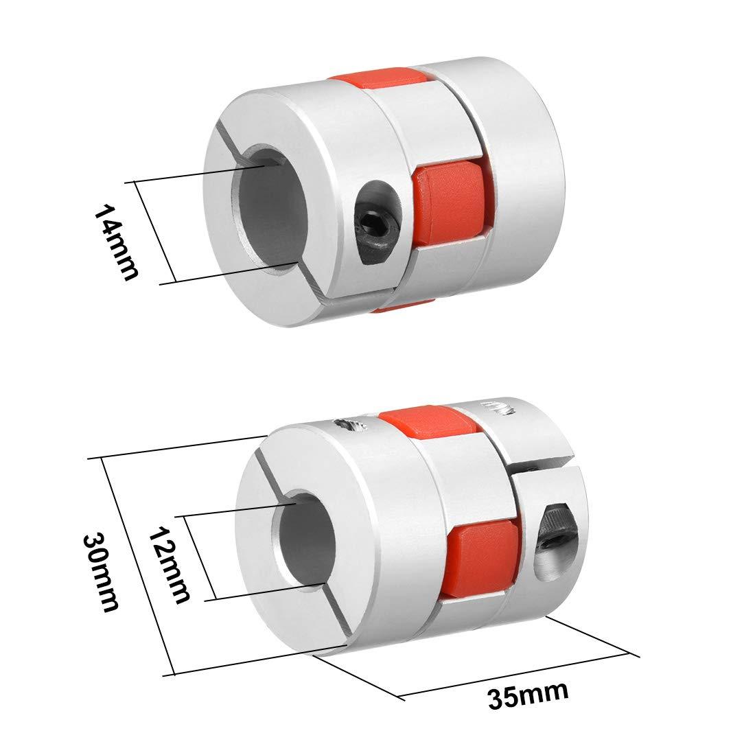 sourcing map Wellenkupplung Flexible Kupplung f/ür Servo Motor 12mm bis 14mm Bohrung L35xD30 DE de
