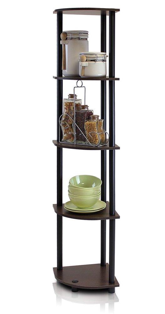 Corner Shelf Storage Bookcase 5 Tier Unit Display Dark Brown Stand Rack Home Furniture Organizer by Zip. Design