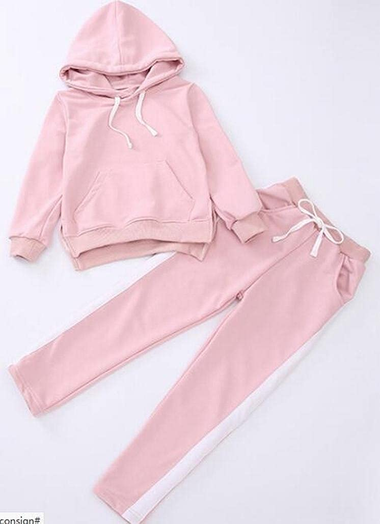 Casual Pant Tracksuit Set M/&S/&W Little Girls New Long Sleeve Round Neck Hooded Pullover Sweatshirt