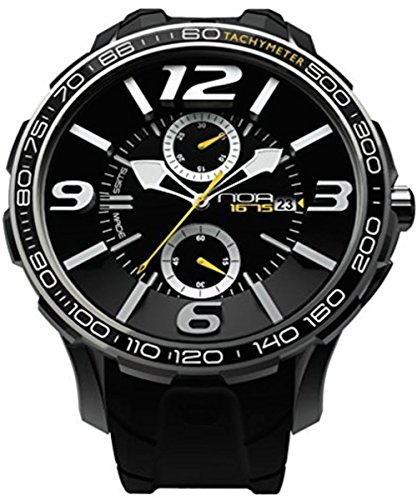 NOA Unisex Swiss Quartz Watch - Premium Analog Display With Black Dial and Watch Band - White and Yellow Accents - Water Resistant Stainless Steel Fashion - G EVO-001 by Noa Watch