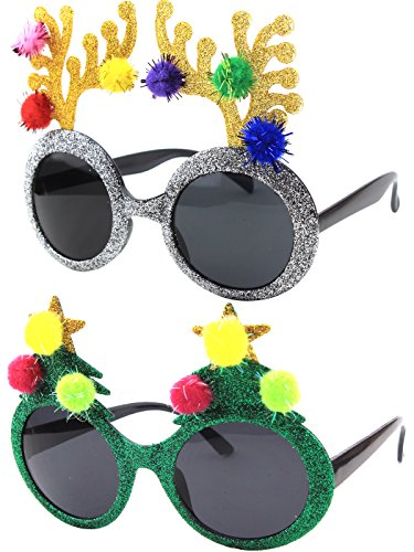CGID Christmas Sun Glasses Costume Accessory Novelty Glitter Xmas Tree and Reindeer Antler - Christmas Sunglasses