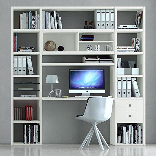 Regalwand mit Schreibtisch TOLEO238 Lack weiß