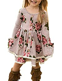 Girls Casual Floral Print Long Striped Sleeve Swing T-Shirt Midi Dress