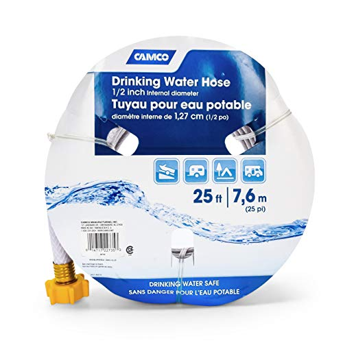 Camco 25ft TastePURE Drinking Water Hose- Lead and BPA Free, Reinforced for Maximum Kink Resistance 1/2