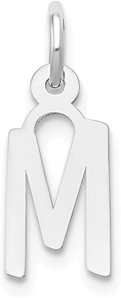 14K White Gold Small Slanted Block Initial O Charm