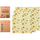 Bees Wax Food Wrap | Sustainable Eco Friendly Food Storage | Biodegradable And Plastic Free | 3 Pack | Beeswax Zero Waste Paper
