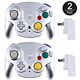 EEEKit 2 Packs Classic 2.4G Wireless Wii Gamecube Controller with Receiver Adapter for Nintendo GameCube Wii / Wii U NGC GC (2 Packs Silver)