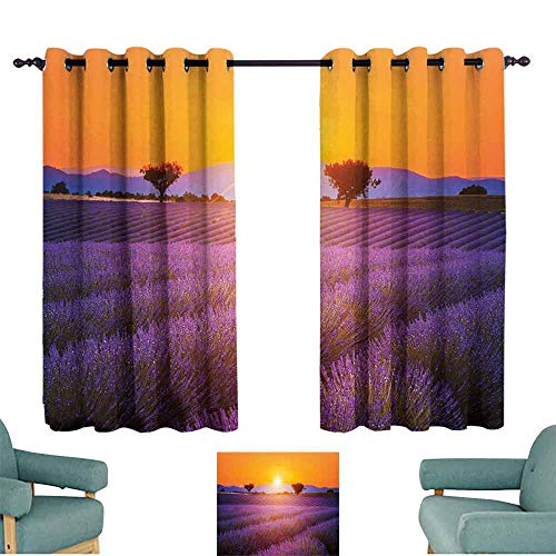 SONGDAYONE Lavender Printed Curtain Idyllic Summer Sunset Landscape with Fresh Field and Trees Valensole France Protective Furniture Lavander Orange (2 Panels,W84 xL72)