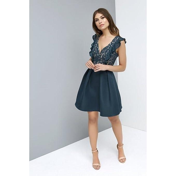 11f4df98c48e Little Mistress - Vestito corto con gonna ampia e corpetto in pizzo - Donna  (42 EU 46 IT) (Blu petrolio )  Amazon.it  Abbigliamento