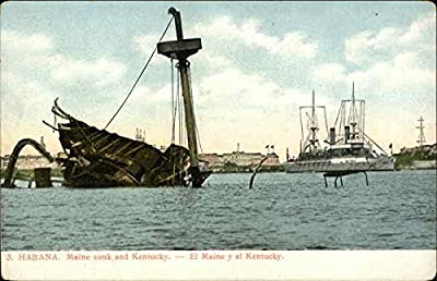 Maine Sunk and Kentucky Afloat Battleships Original Vintage Postcard