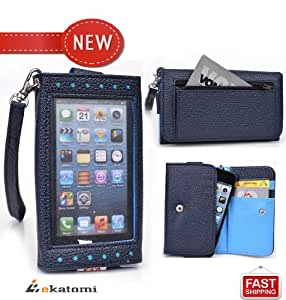 [Expose] Nokia Asha 302 Phone Case Wristlet Women's Wallet with Frosted Screen Protector - BLUE