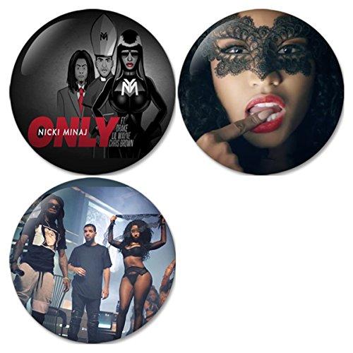 Nicki Minaj : Only ft. Drake, Lil Wayne, Chris Brown Pinback Buttons Badges/Pin 1.25 Inch (32mm) Set of 3 New (Chris Brown Ft Nicki Minaj Ft Drake)