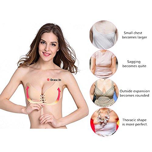 9c5385dab2 Lnabni Women s Sexy Self Adhesive Silicone Bra Strapless Invisible ...
