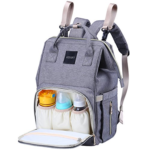 Diaper Bag Backpack Multifunction Travel Backpack Maternity Baby Nappy Changing Bags for Mom/Dad with Baby Care,Large Capacity,Waterproof,Stroller Straps,and Stylish,Grey