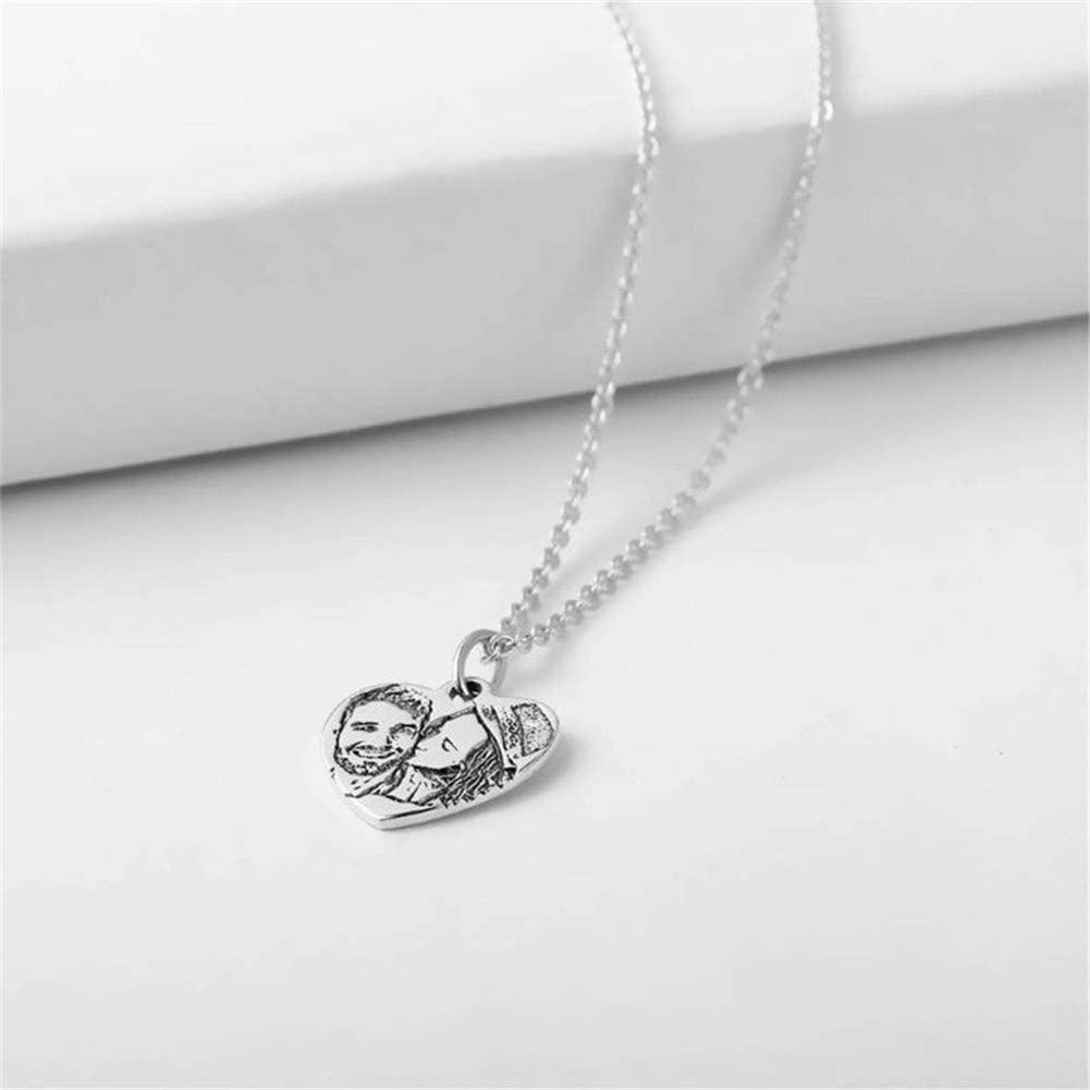 Yvettewu Personalized Photo Necklace 925 Streling Silver Engraved Heart Shadow Carving Necklace Childrens Unique Gift