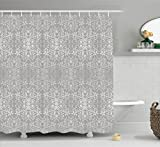 Grey Decor Shower Curtain by Ambesonne, Victorian Lace Flowers and Leaves in Retro Background Old Fashioned Mod Graphic Print Home, Fabric Bathroom Set with Hooks, 84 Inches Extra Long, Silver Gray