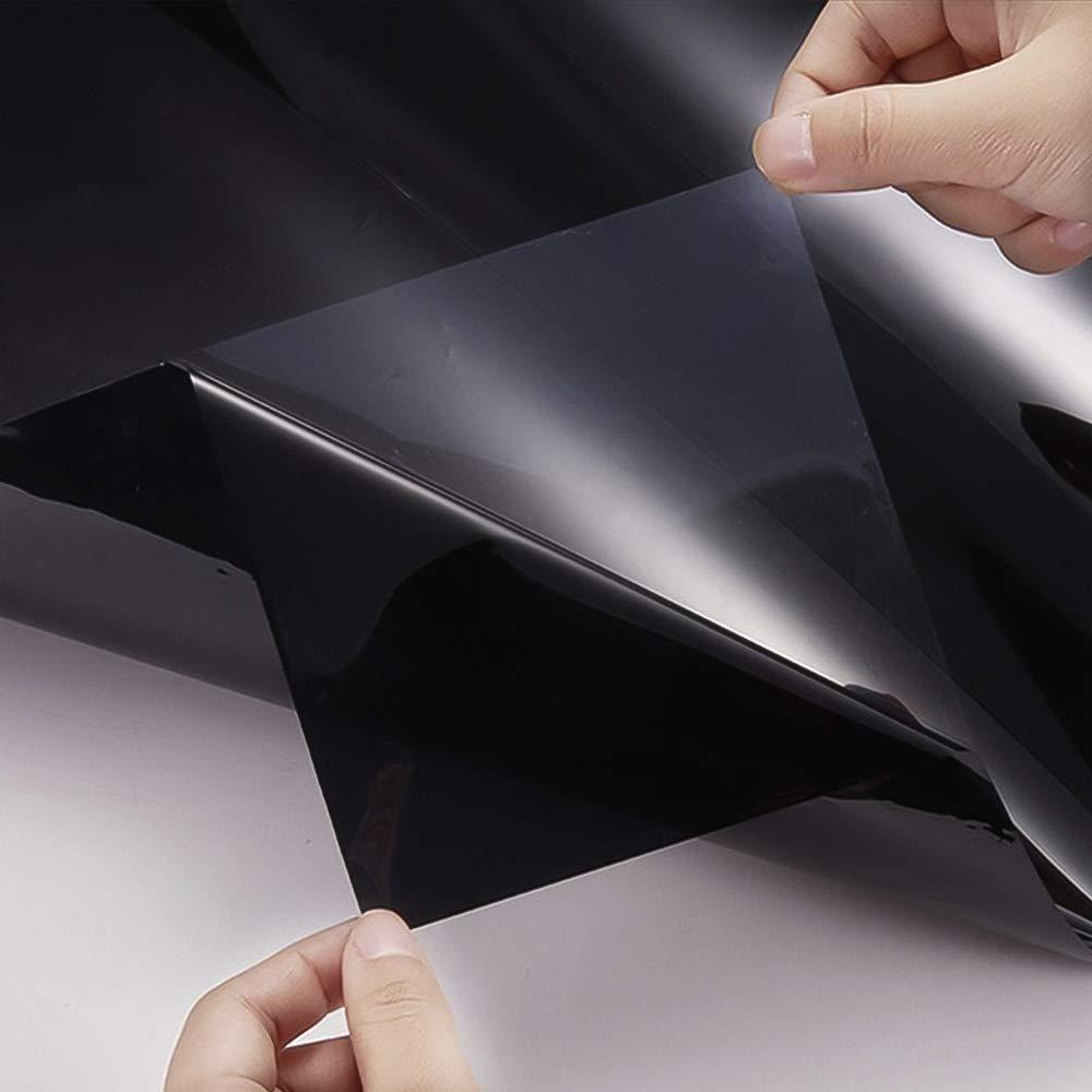 Lifemaison 1pcs Film de Protection Solaire Autocollant pour Fen/être de Voiture Anti Chaleur Contre Rayon de Soleil et UV Noir avec Racloir 50cm x 3m
