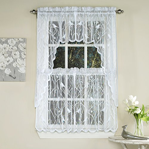 Charming Songbird Lace Kitchen Tier Curtain Pair, 56W X 24L, White
