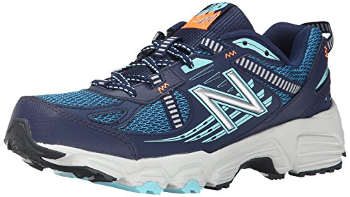 New Balance Women s WT410V4 Trail Shoe, Navy Light Blue, 5 D US
