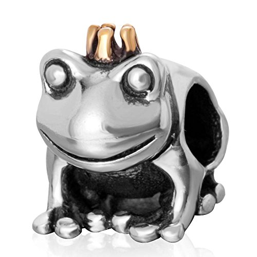 Frog Charm with Crown Charm 925 Sterling Silver Animal Charm Prince Charm Easter Charm for Bracelet (A) ()