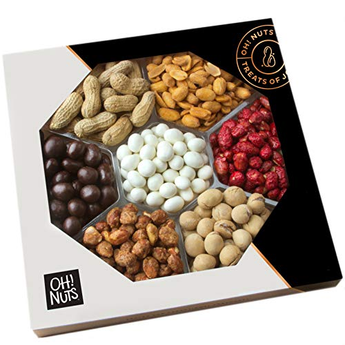 Oh! Nuts Gourmet Peanuts Chocolate & Candy Assortment Gift Tray 7 Variety Gift Tray | Christmas Food Gifts Basket for Woman or Men | Prime Gift for Get Well, Sympathy and Thank you
