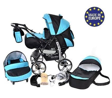 Kamil - Sistema de viaje 3 en 1, silla de paseo, carrito con capazo y silla de coche, RUEDAS ESTÁTICAS y accesorios (Sistema de viaje 3 en 1, negro, ...